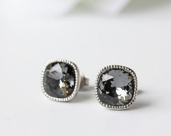 Black Swarovski Crystal Silver Night Titanium Stud Square Silver Bezel Earrings