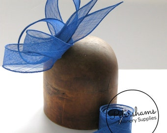 Royal Blue Hand Rolled Sinamay Ribbon Sash for Millinery, Hat Trimming & Fascinators