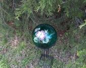 Turquoise Translucent Gazing Ball w/ Magenta Hibiscus