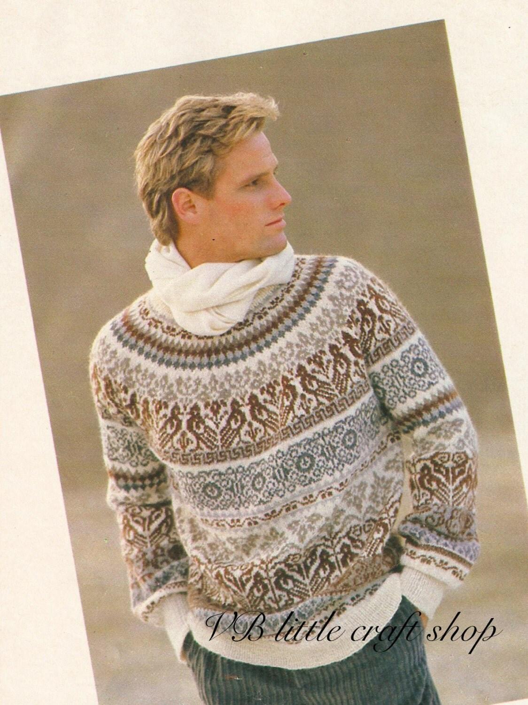 Unisex Norwegian style sweater knitting pattern. Instant PDF