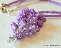FORGET ME NOT - pendant - hand tatted lace cluster  necklace - bridal - made to order