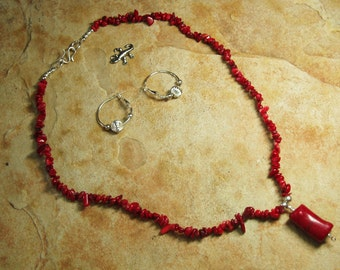 Natural AAA Grade Quality Red Coral Gemstone Chips, 925 Silver Necklace and Earrings