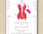 Flower Corset Lingerie Bridal Shower PRINTED INVITATIONS - Sold in packs of 10 includes envelope Flowers - Ocean Beach - Minnie Mouse