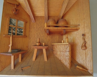 Vintage Wood 3D Diorama Primitive Rustic Cabin