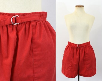 1980s High Waisted Shorts High Rise Red Belted Elastic Waist Vintage 80s Cotton Cargo Pockets Retro Wide Leg Jamaica Jams Medium M