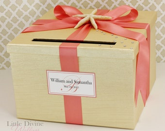 Wedding Card Box Champagne Gold and Coral Starsh Beach Theme Money Holder Customizable