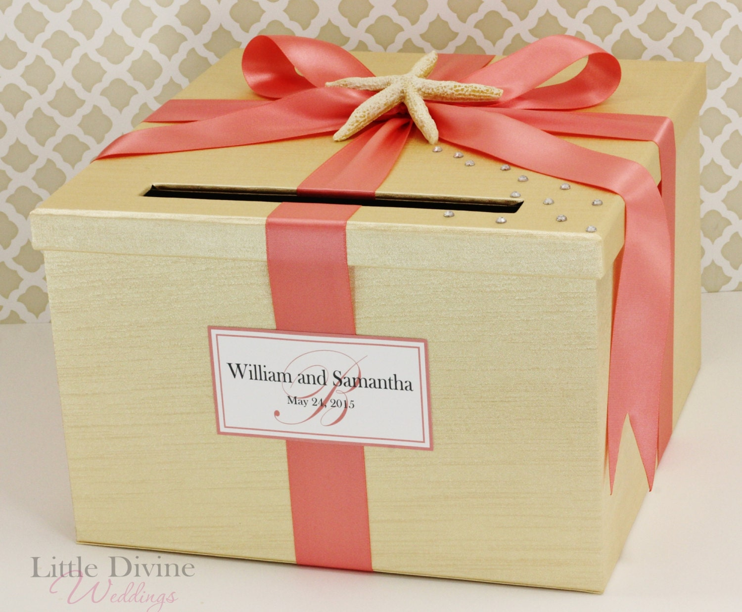 Wedding Gift Card Holder Beach Theme : Wedding Card Box Champagne Gold and Coral Starsh Beach Theme