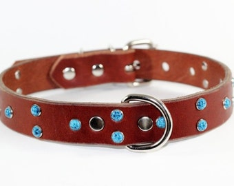 "Brown Leather Turquoise Dog Collar - 1"" Brown Leather Dog Collar - Turquoise Leather Dog Collar - Made In Ca"
