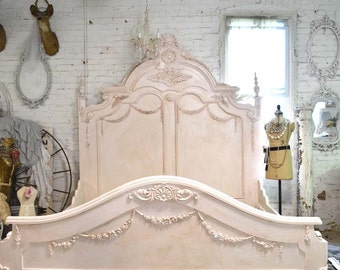 French Bed Painted Cottage Shabby Chic French Romantic Queen / King Bed VICTPK