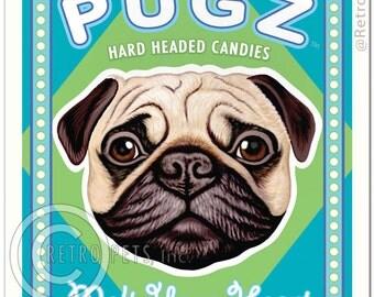 8x10 Pug Art - PUGZ - Hard Headed Candies - Art print by Krista Brooks