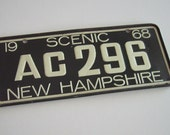 Vintage License Plate Scenic New Hampshire 1968 – Bicycle Cereal Premium Toy Prize Miniature – White on Green – AC 296