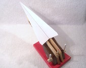 X-7 Goliath. Paper Airplane and Glider Launcher - Red, Brown, Gloss Redwood Base