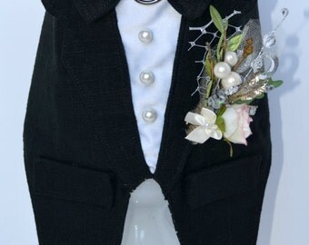 Wedding, Black Dog Tuxedo Linen Boy Dog Harness, Rustic