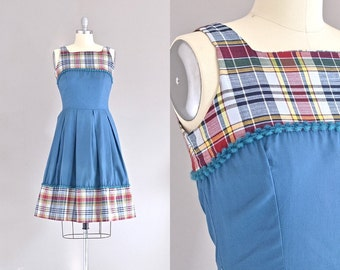vintage 1950s dress • fit and flare • plaid cotton dress • day 50s dress