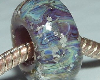 Solid Core Option - OOAK Handmade Lampwork European Charm Bead with Silver Glass and Glitter - Fits all charm bracelets