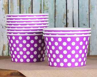 Large Polka Dot Purple Ice Cream Cups, Ice Cream Bowls, Sundae Cups, Ice Cream Party Cups, Dessert Cups, 8oz Paper Ice Cream Cups (18)