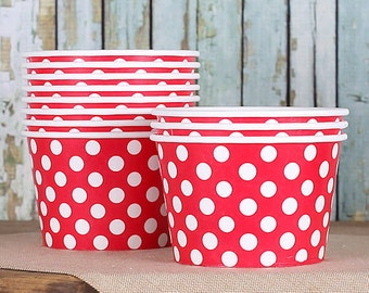 Large Polka Dot Red Ice Cream Cups, Red Ice Cream Bowls, Sundae Cups, Ice Cream Party Cups, Dessert Cups, 8 oz Paper Ice Cream Cups (18)
