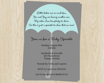Baby Sprinkle Invitations, Umbrella, Boys, with Poem, Gray and Blue, Set of 10 Printed Invites, Free Shipping, EASBY