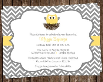 Owl, Baby Shower Invitations, Gender Neutral, Gray, Yellow, Grey, Chevron, Stripes, Feather, Nest, 10 Printed Invites, FREE Shipping, Custom