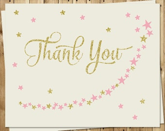 Twinkle Little Star, Thank You Cards, Baby Shower, Birthday, Girls, Pink, 24 Folding Notes with Envelopes, TWSGG, Sprinkle, Glitter, Gold