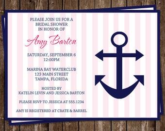 Bridal Shower Invitations, Nautical, Pink, Navy, Wedding, Stripes, Set of 10 Printed Cards, FREE Ship, AILPN, Anchored in Love Navy and Pink