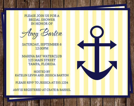 Bridal Shower Invitations, Nautical, Yellow, Navy, Wedding, Set of 10 Printed Cards, FREE Shipping, AILYN, Anchored in Love Yellow and Navy