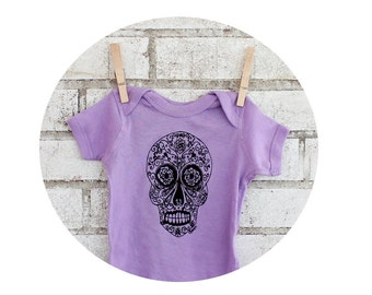 Sugar Skull Baby One-piece In Light Lavender Pastel Purple, Hand Screenprinted, Short Sleeved, Day of the Dead, Cotton Infant Clothing