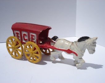 Antique Cast Iron Toy Ice Wagon ~ Red and Yellow