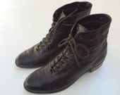 Vintage 1980s-90s Nine West Black Leather Ankle Boots-7