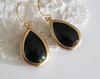 Black Drop Earrings,Jet Black Earrings,Black Teardrops,Black Earrings,Christmas Gift idea,Stocking stuffer,Jewelry Under 30 Birthday Gift