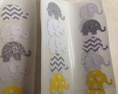 50 pc Yellow Polka dot Grey Chevron Paper Elephant Stickers  New Baby  Shower