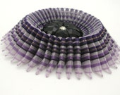 Ribbon Cocarde Cockade Purple Striped Horsehair Ribbon with Metallic Threads
