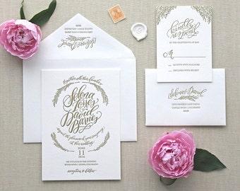 Letterpress Wedding Invitation - Bloom Design - Foil Stamping- Calligraphy,Traditional, Elegant, Simple, Classic, Custom, Destination