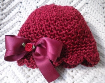 Crocheted Newborn Hat Baby Girl Beanie Autumn Red Scalloped Edging w Satin Bow