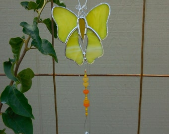 Stained Glass Butterfly - Suncatcher - Handmade - Yellow - Gift - Prism - Window Decor