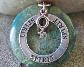 Female Spirit Turquoise Necklace Womens Free Spirit Necklace Sterling Silver