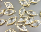 2 sleek and chic clear glass findings in marquise elongated style | connectors and links for wedding jewelry 5072G-CL