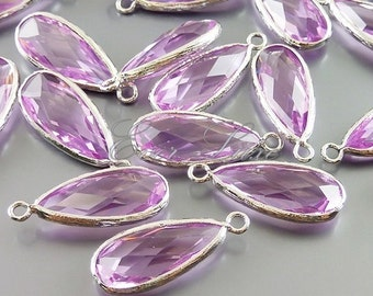 2 high fashion lavender long teardrop pendant / silver bezel light purple glass jewelry findings  5131R-LA