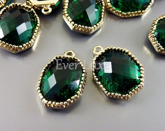 2 large green emerald octagonal faceted glass charms for making earrings bracelets necklaces 5093G-EM (bright gold, emerald, 2 pieces)
