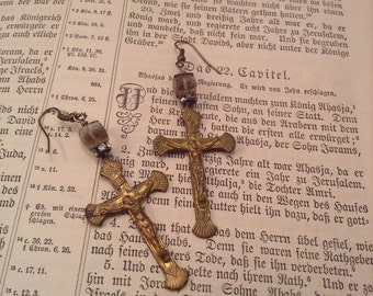 Upcyled Vintage Crucifix Rhinestone Assemblage Earrings,OOAK,Repurposed,Rustic,Shabby Chic