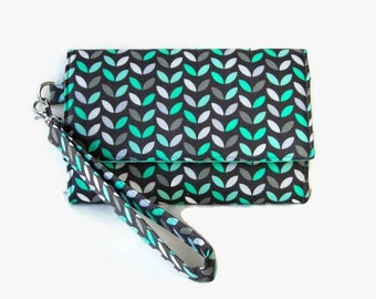 Turquoise and Gray Cushioned Cell Phone Trifold Wallet - Turquoise Smartphone Wristlet - Gray Phone Pouch -  iPhone Wristlet Wallet