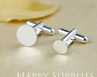 10Pcs Silver Brass Cuff Links with 8mm/ 12mm Cameo Setting (XJ152)