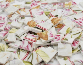 Broken Plate Mosaic Tiles - Romantic Pink Flowers - Set of 175