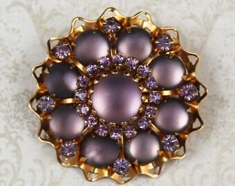 Vintage Lavender Rhinestone and Glass Golden Filigree Round Brooch