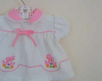 Vintage Baby Girl's Pink and White Dress with Appliqued Ducks - Size 0-3 Months
