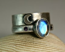 Blue Moonstone Engagement Ring, Black Silver Rings, Crescent Moon Wedding Set