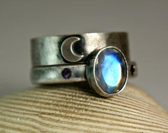 Blue Moonstone Engagement Ring, Black Silver Rings, Crescent Moon Wedding Set