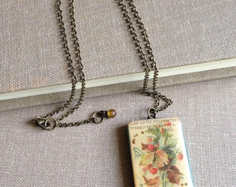 Bible verse necklace with resin and vintage paper