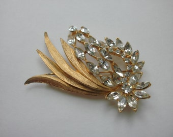 Large Gold Tone Brooch With Marquise Shaped Rhinestones FREE SHIPPING