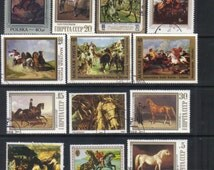 Fine art - Horse postage stamps - Paintings postage stamps, Scrapbook stamps, Vintage postage stamps